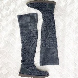 UGG over the knee twisted cable knit boots